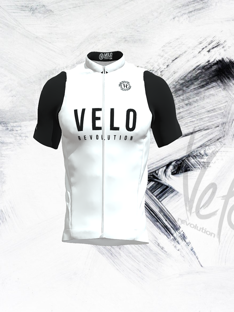 Short Sleeve Jersey Pro White Badass with Black Tailored Sleeves