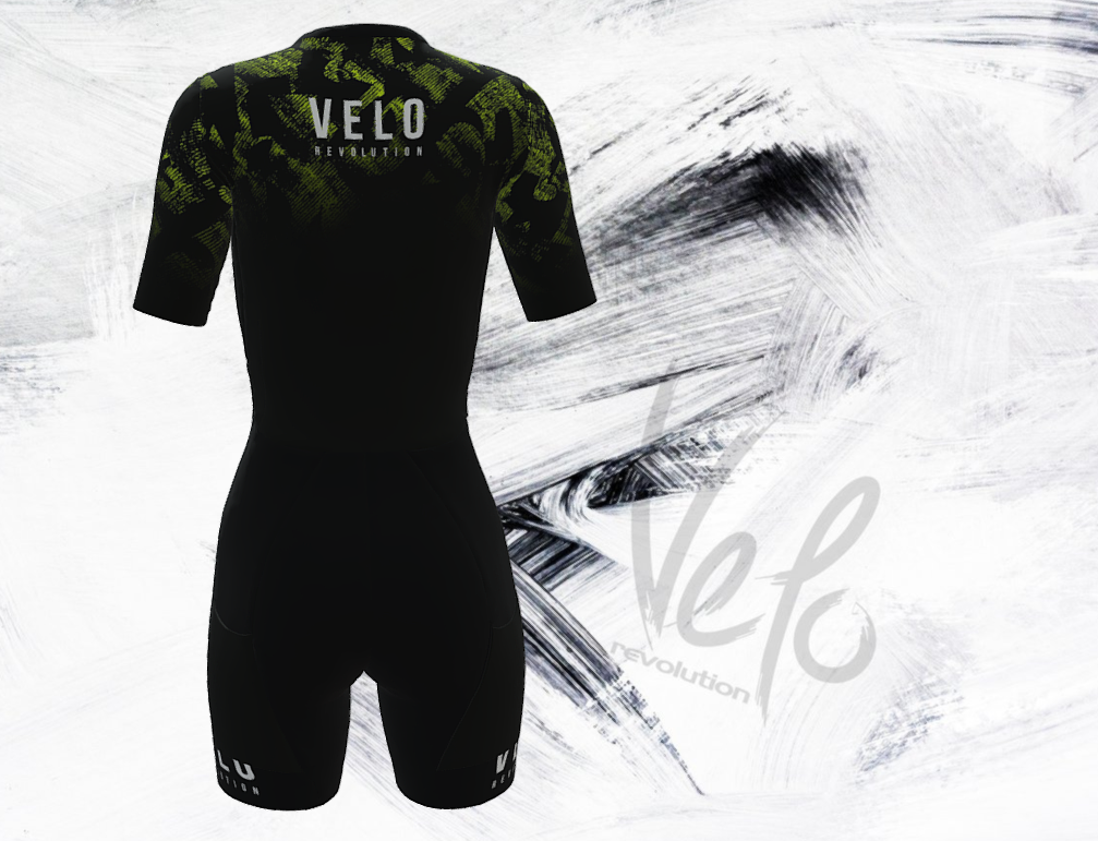 Triathlon Aero Short Sleeve Suit Female Speedcheat -  Black & Splash