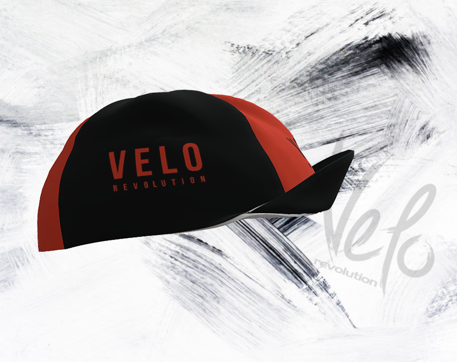Cycling Caps - JET BLACK with ORANGE PANELS
