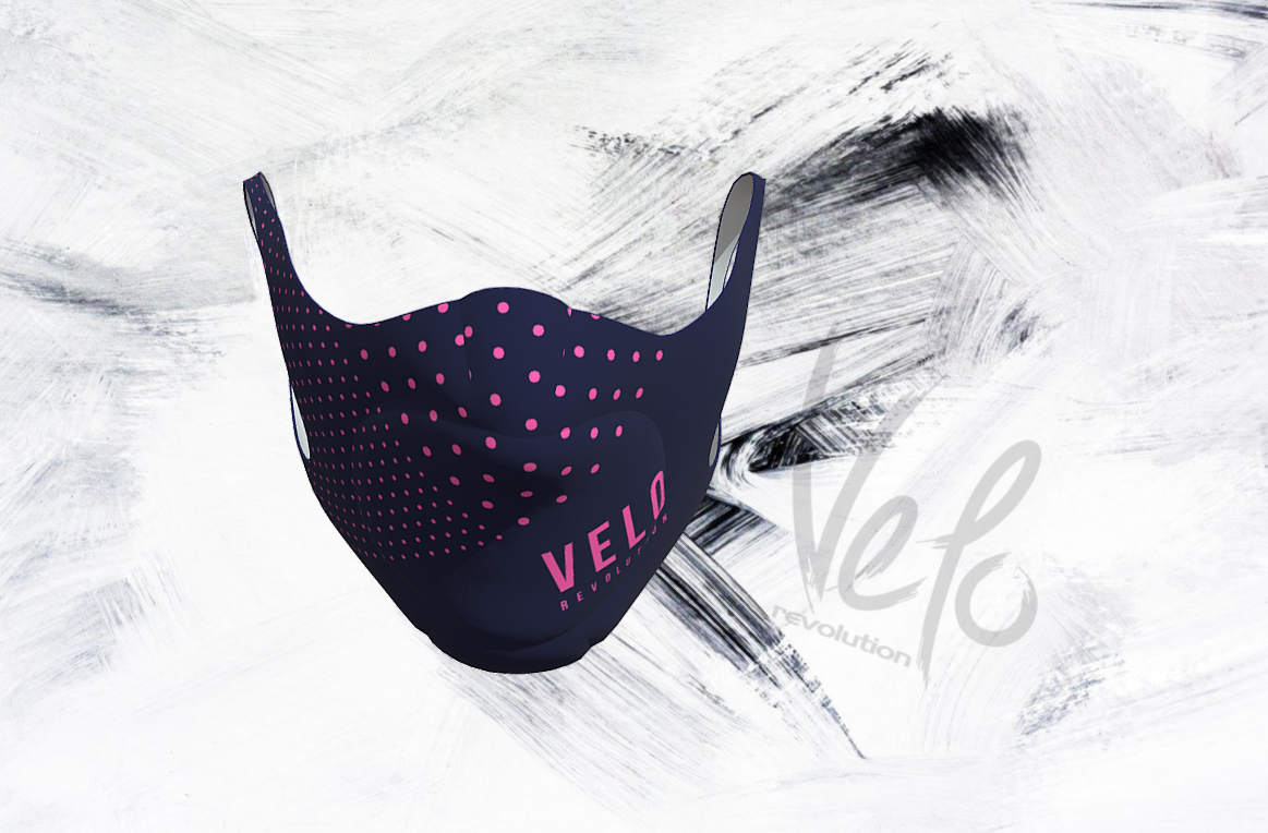 VeloRevolution Face Mask/Barrier (with filter) NAVY with PINK POLKA VELO