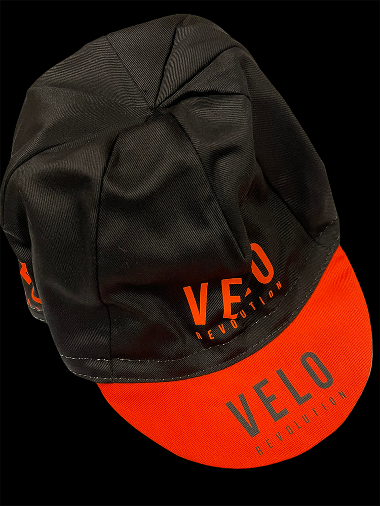 Cycling Caps - JET BLACK with ORANGE PEAK