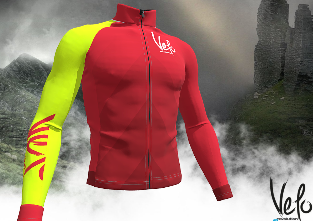Long Sleeve ICE Thermal Jacket - RED with Bright Yellow Sleeve