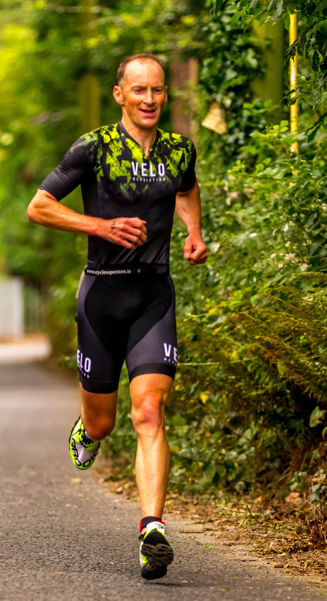 Triathlon Aero 'All Rounder' Short Sleeve Suit  - Black & Yellow Splash