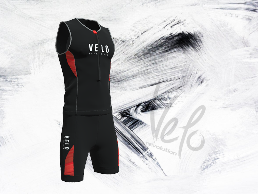 Elite Aero Triathlon Top - BLACK with Red