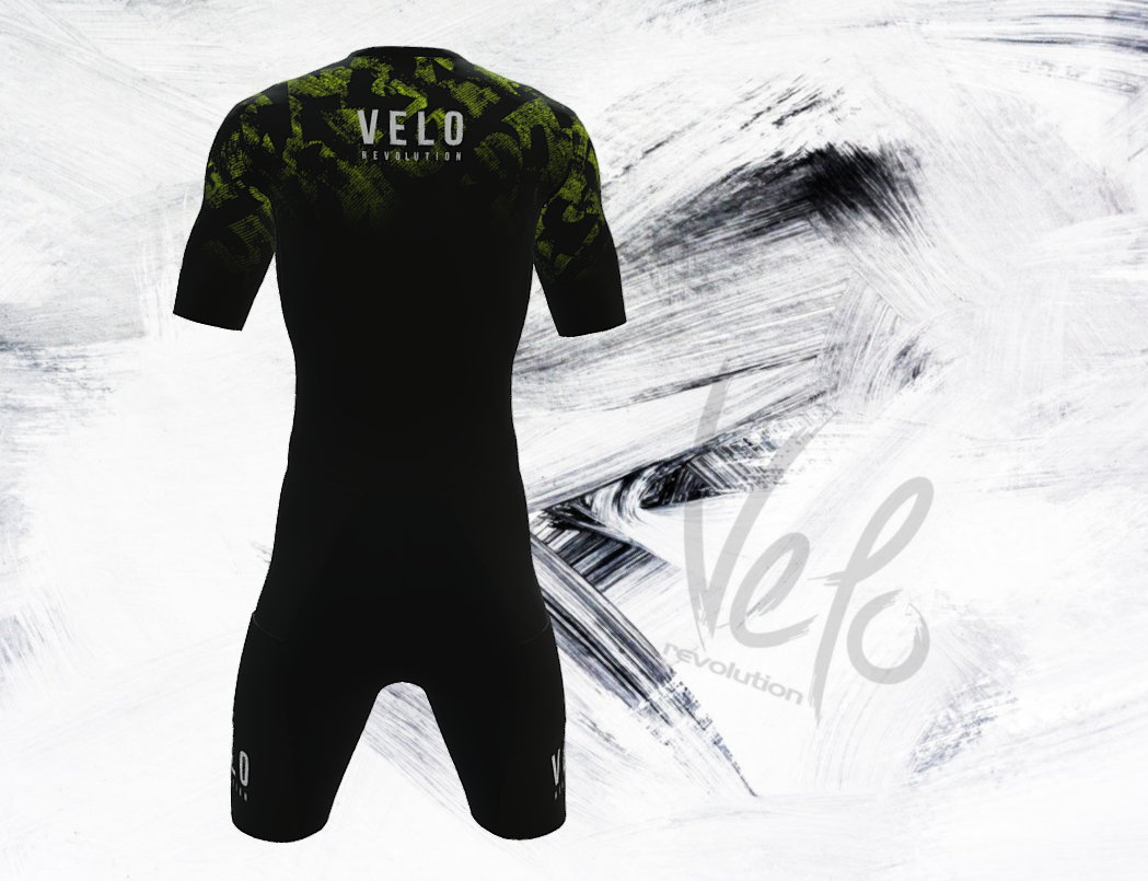 Triathlon Aero Short Sleeve Suit Speedcheat -  Black & Splash