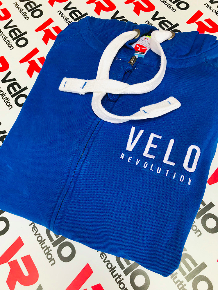 Casual Royal Blue Velo Cotton Hoodie