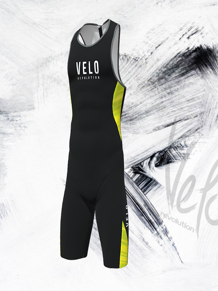 ELITE AERO Sleeveless Triathlon Suit - Rear Zip JET BLACK & Fluo