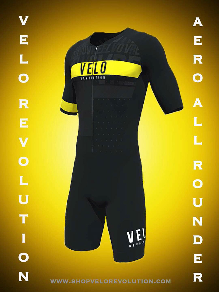 TRIATHLON AERO 'All Rounder' Short Sleeve Suit - JET BLACK & Yellow