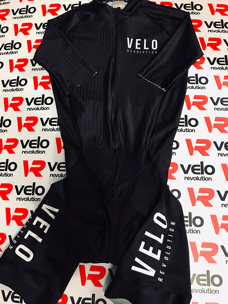 Skin Suit - Black Stealth VELO Pure Speed (with 2 Rear Pockets)