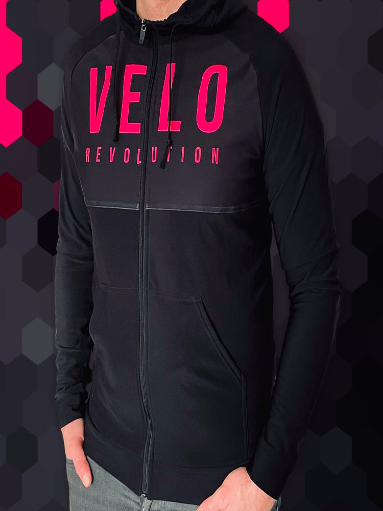 Lycra Logo Technical Hoodie STEALTH BLACK w/PINK