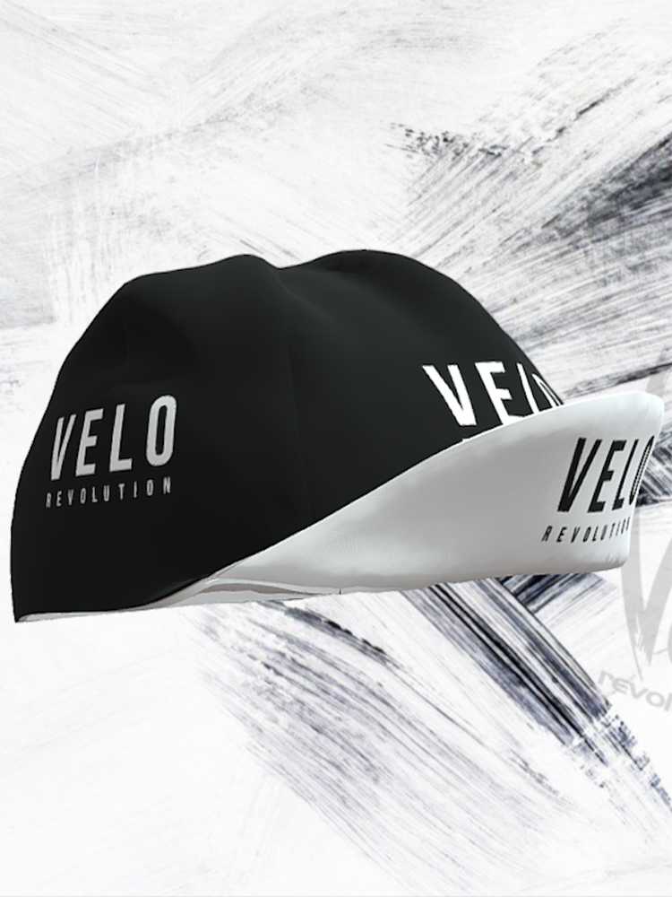 Cycling Caps Black with White Peak