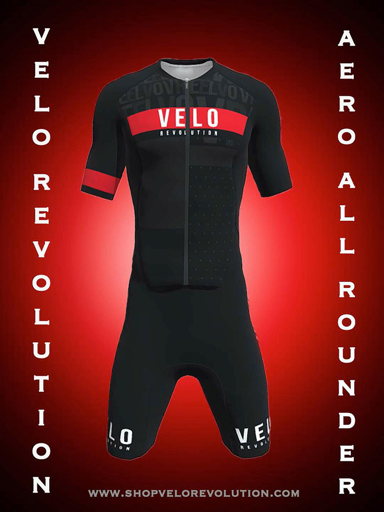 TRIATHLON AERO 'All Rounder' Short Sleeve Suit - JET BLACK & Red