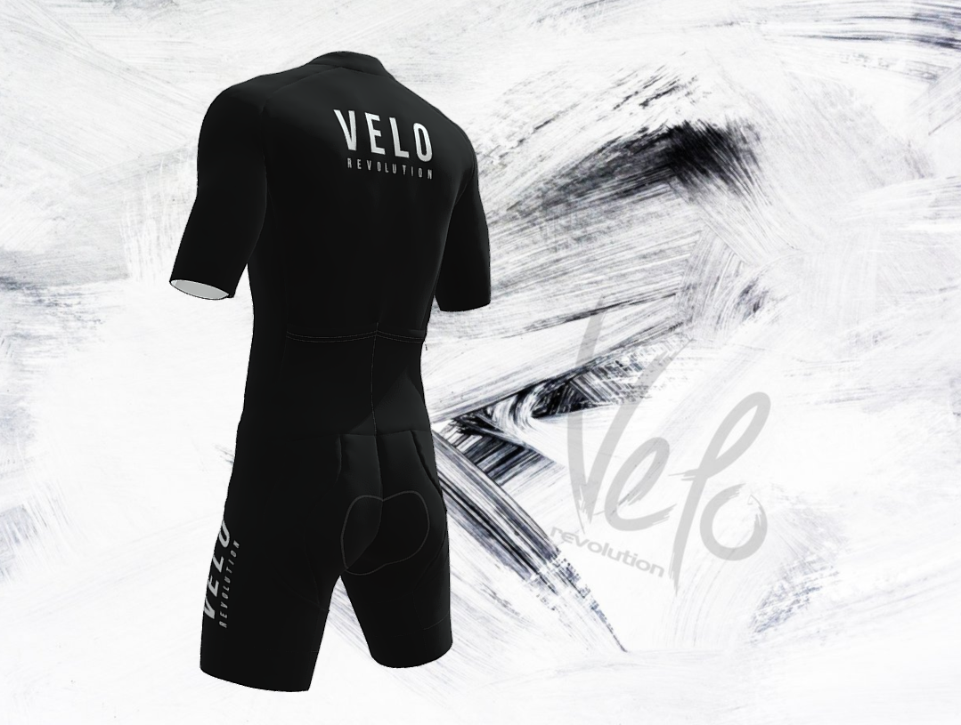 SKIN SUIT - JET BLACK VELO Pure Speed (with 2 Rear Pockets)