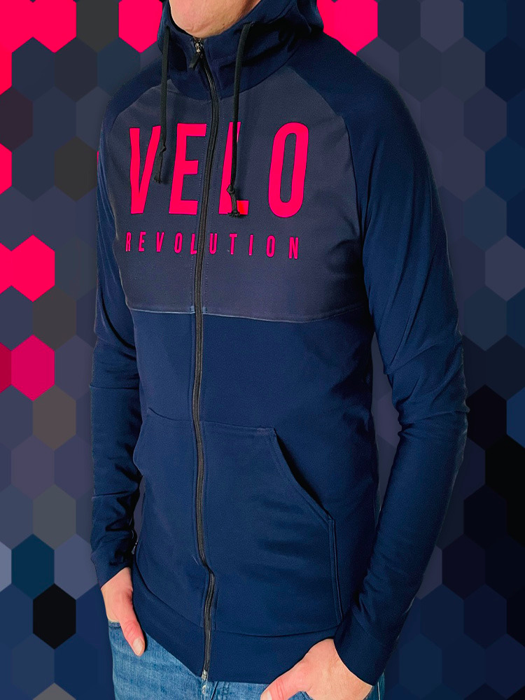 Lycra Logo Technical Hoodie FRENCH NAVY w/PINK