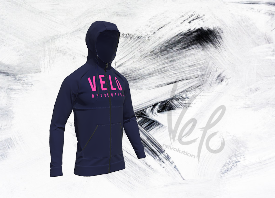 Lycra Logo Technical Hoodie FRENCH NAVY w/ NEON PINK
