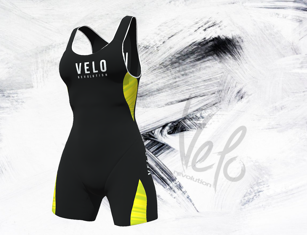 Triathlon Elite Aero Female Sleeveless Suit Ergonomic Fit - Black with Fluo/Neon