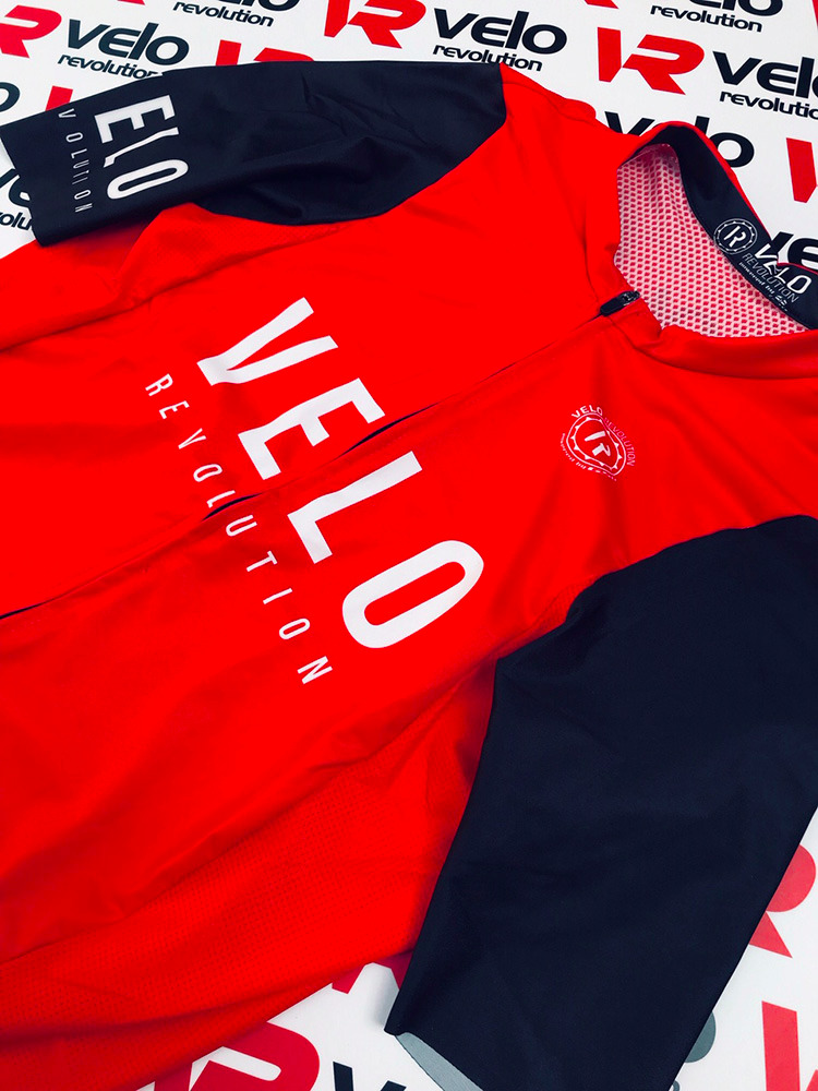 Short Sleeve Jersey Pro Red with Black Tailored Sleeves