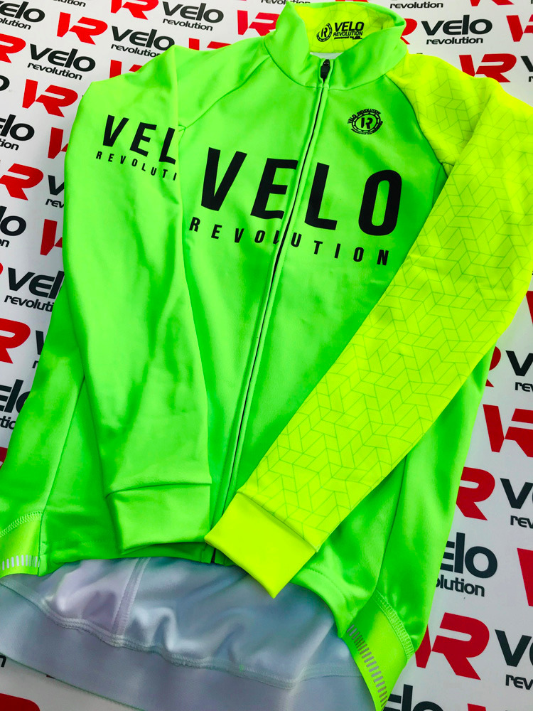 Long Sleeve Thermal Jersey Neon Green with Fluo Sleeve