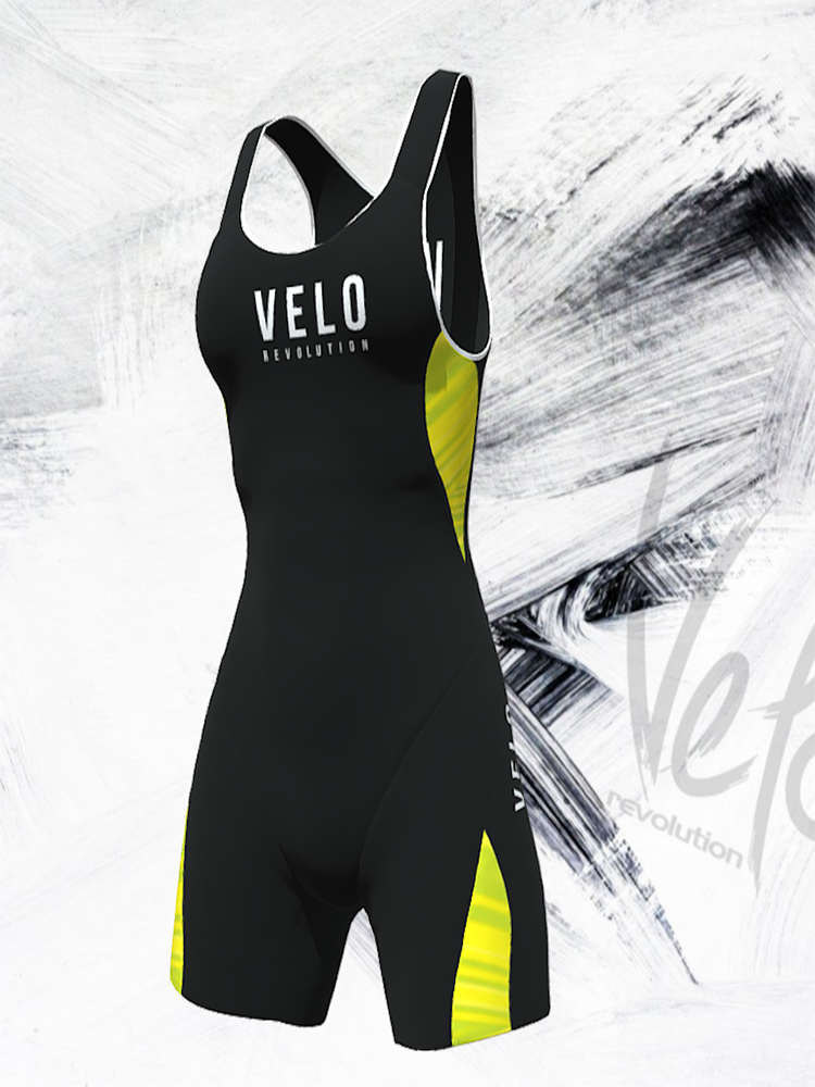 TRIATHLON ELITE AERO Female Sleeveless Suit - JET BLACK & Fluo