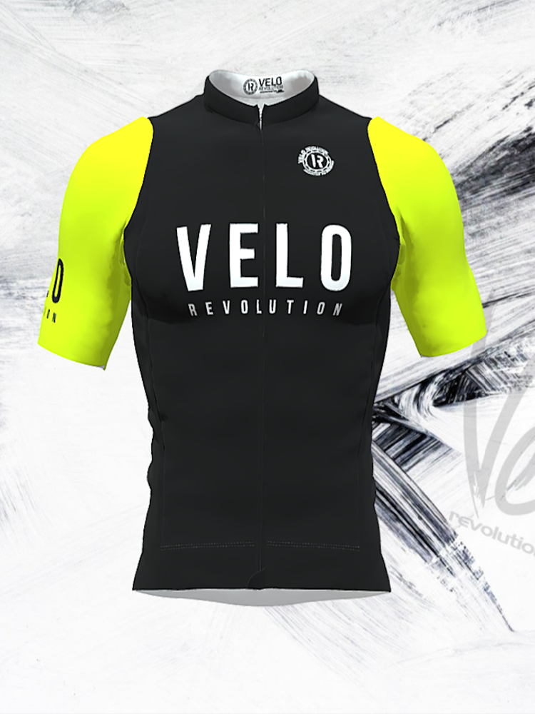 Short Sleeve Jersey Pro Black with Fluo Yellow Tailored Sleeves