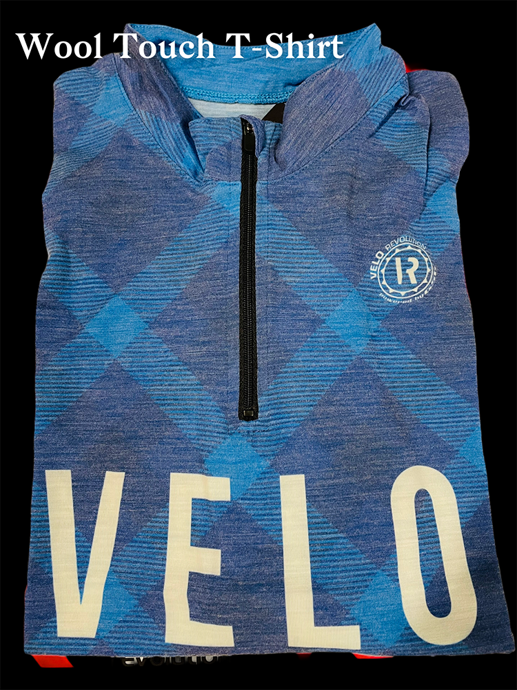 Classic Retro Wool Touch T-Shirt BLUE w/Shapes