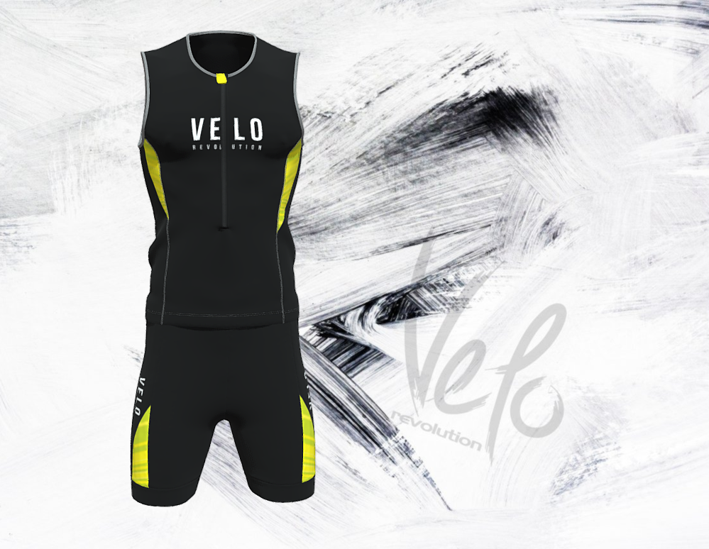 Elite Aero Triathlon Top - BLACK with Fluo/Neon Stripe