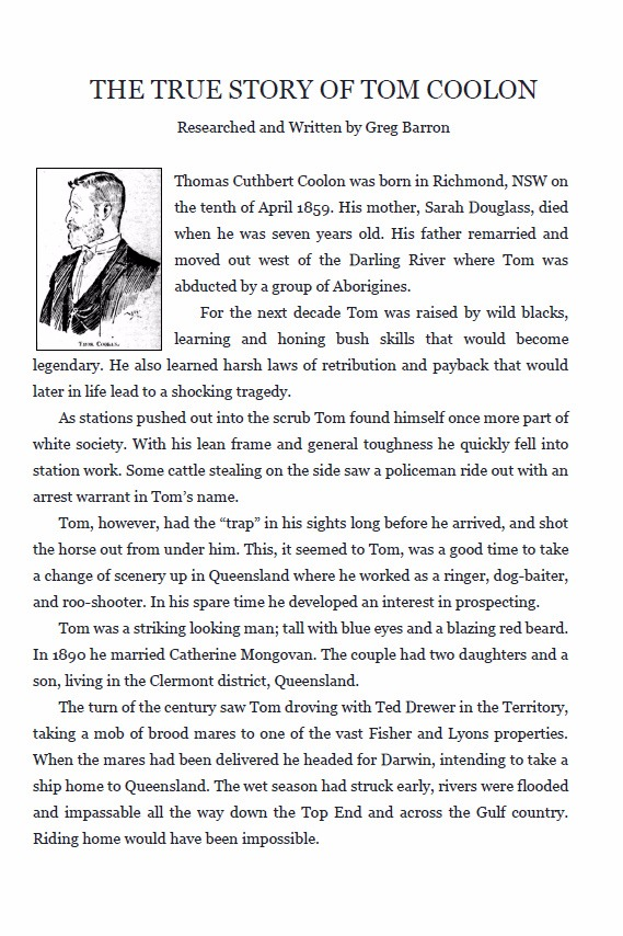 The True Story of Tom Coolon by Greg Barron - free pdf (8 pages)