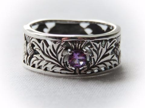 Sterling Silver Scottish Thistle Amethyst Ring