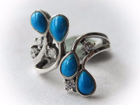 Sterling Silver Turquoise Marcasite Ring