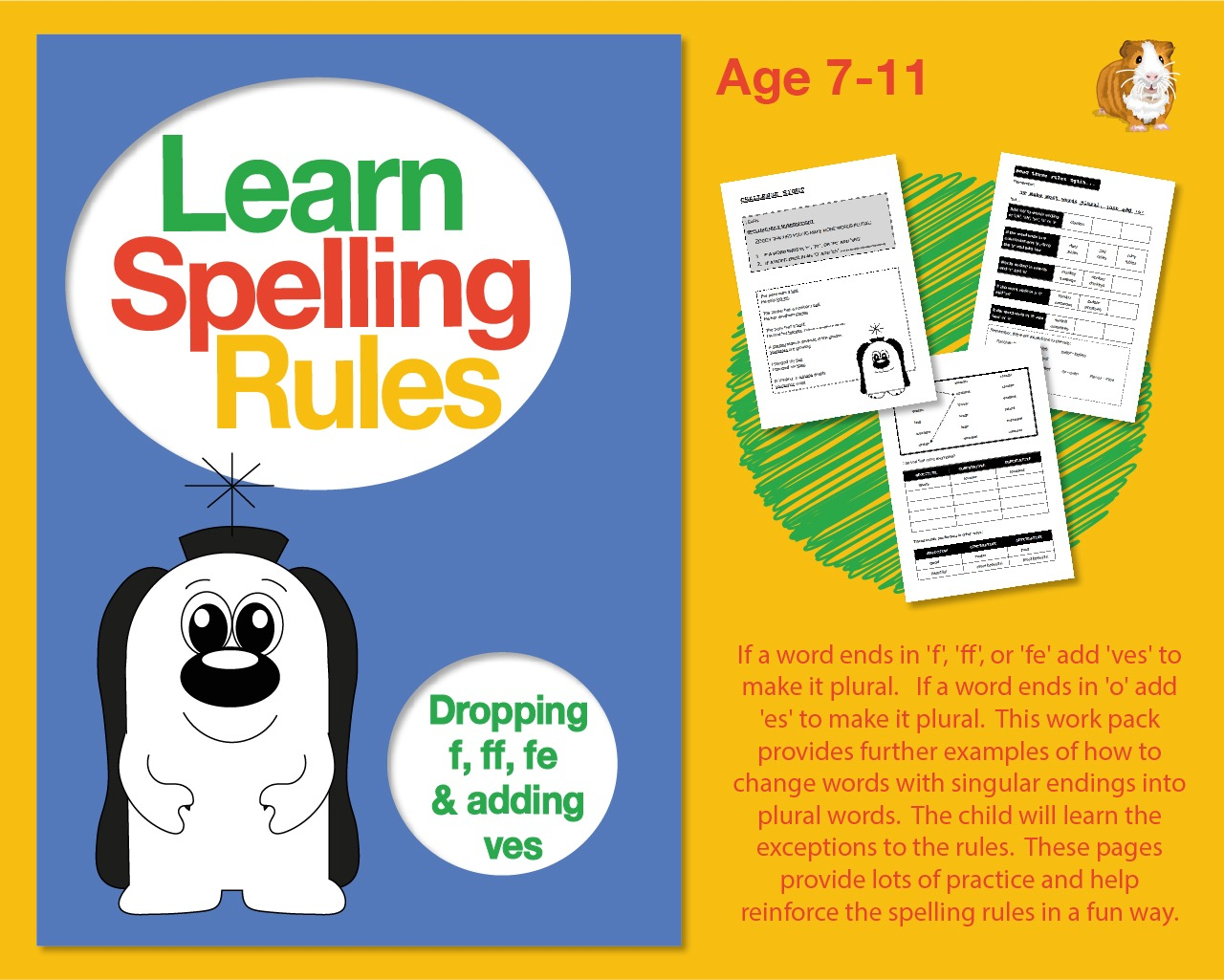 Learn Spelling Rules Challenge 8: Forming Plurals By Dropping 'f', 'ff', 'fe' And Adding 'ves'