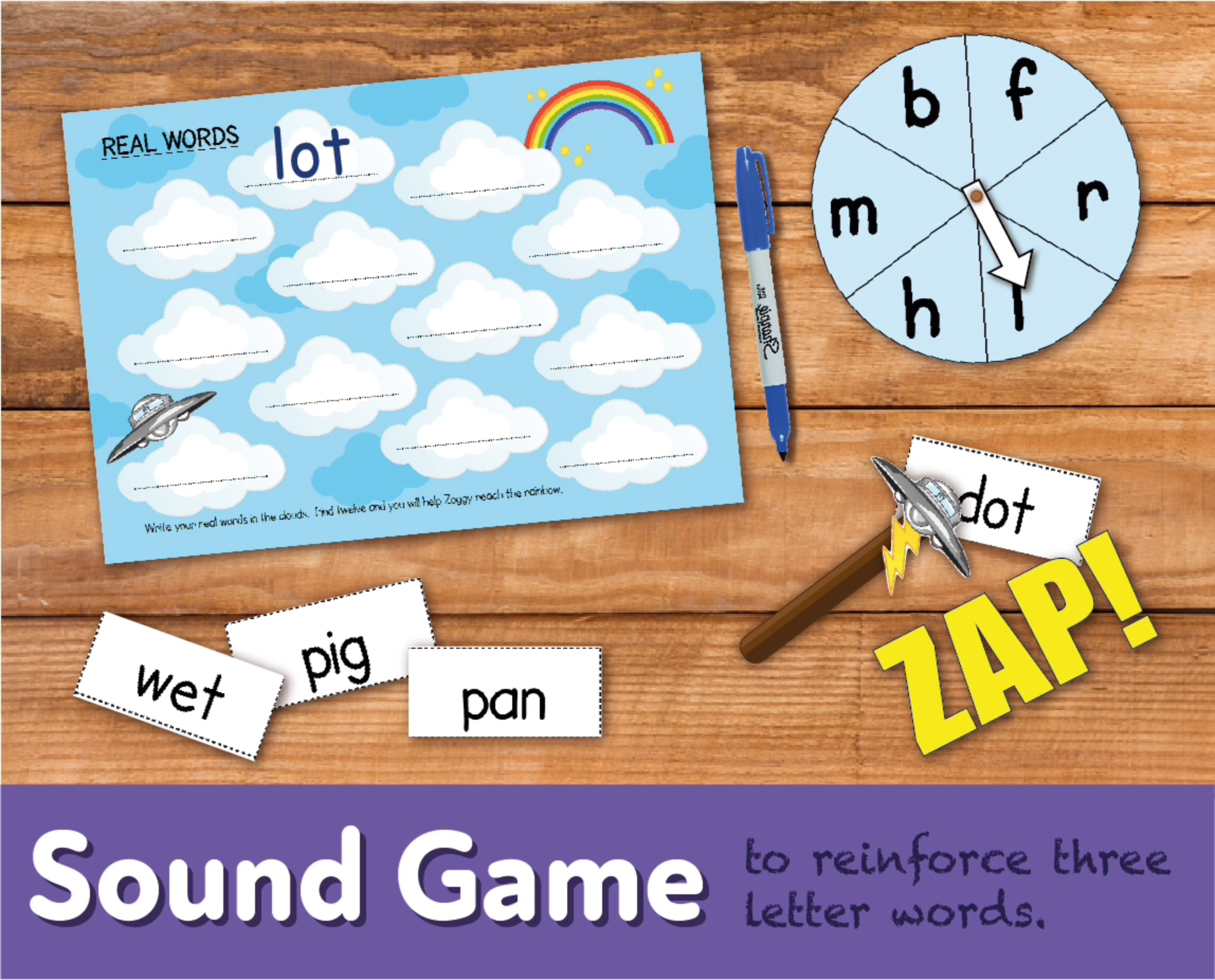 Play A Sound Game 'Zap' To Reinforce Three Letter Words (4-7 years)
