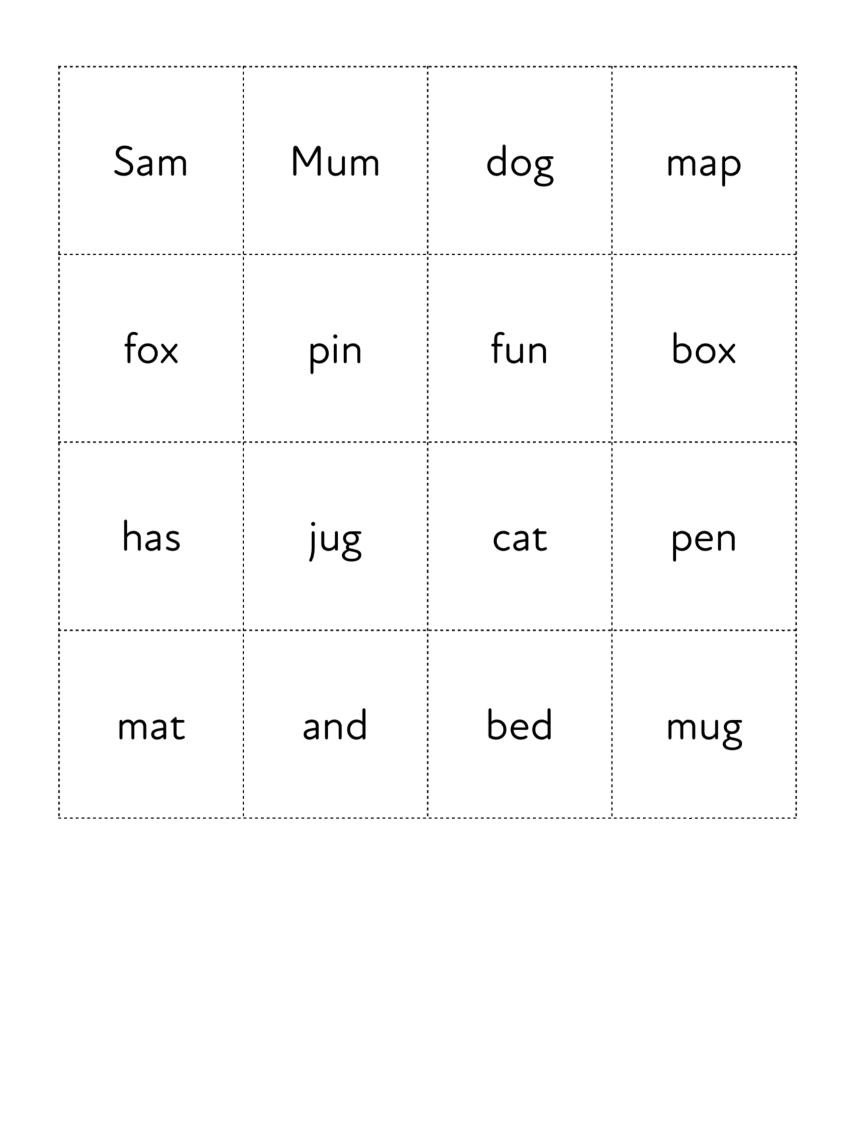 Play Word Picture Bingo To Learn 3 Letter Words (3 +)
