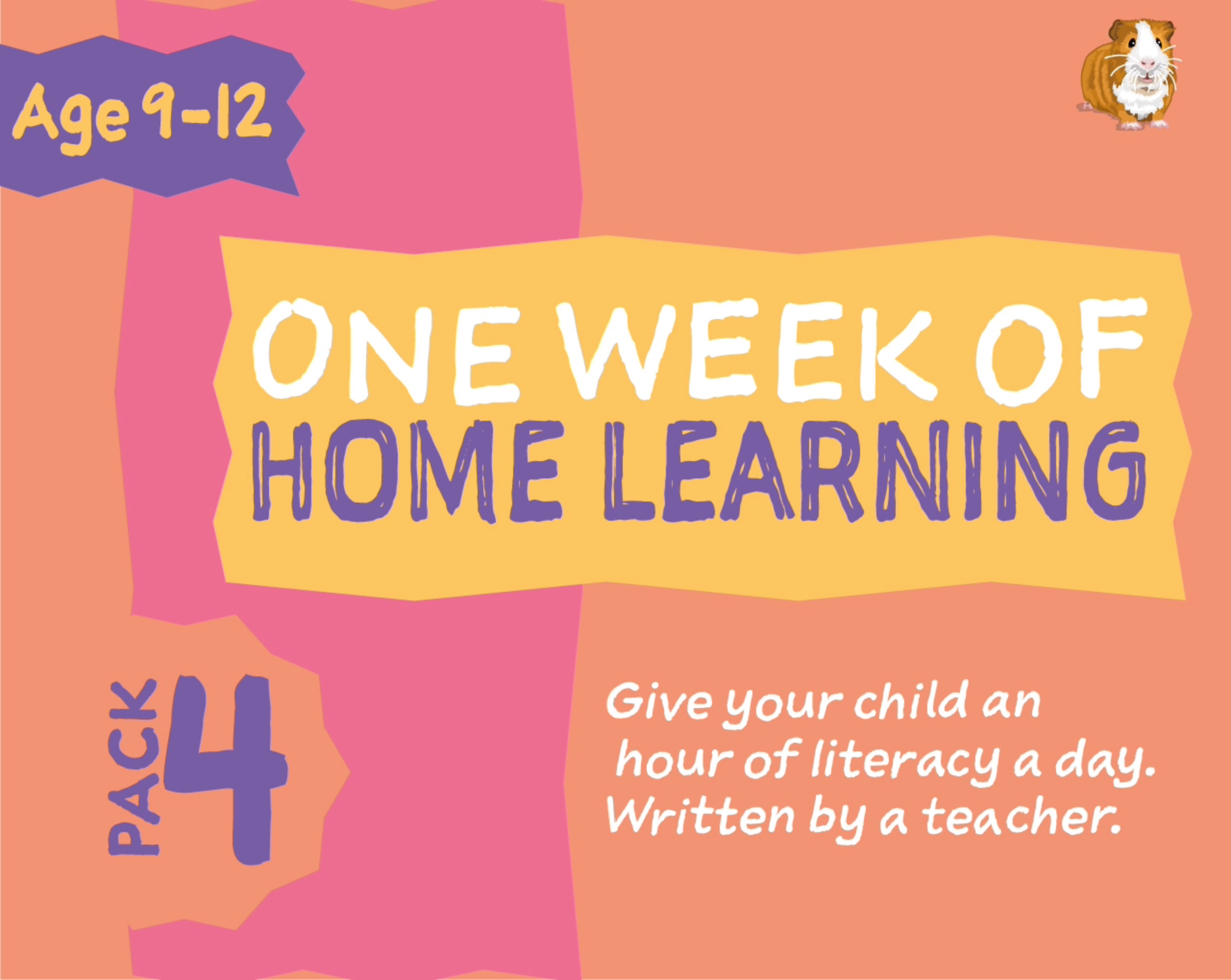 1 WEEK Literacy Distance Learning: Pack FOUR (age 9-12 years) Grades 4-6