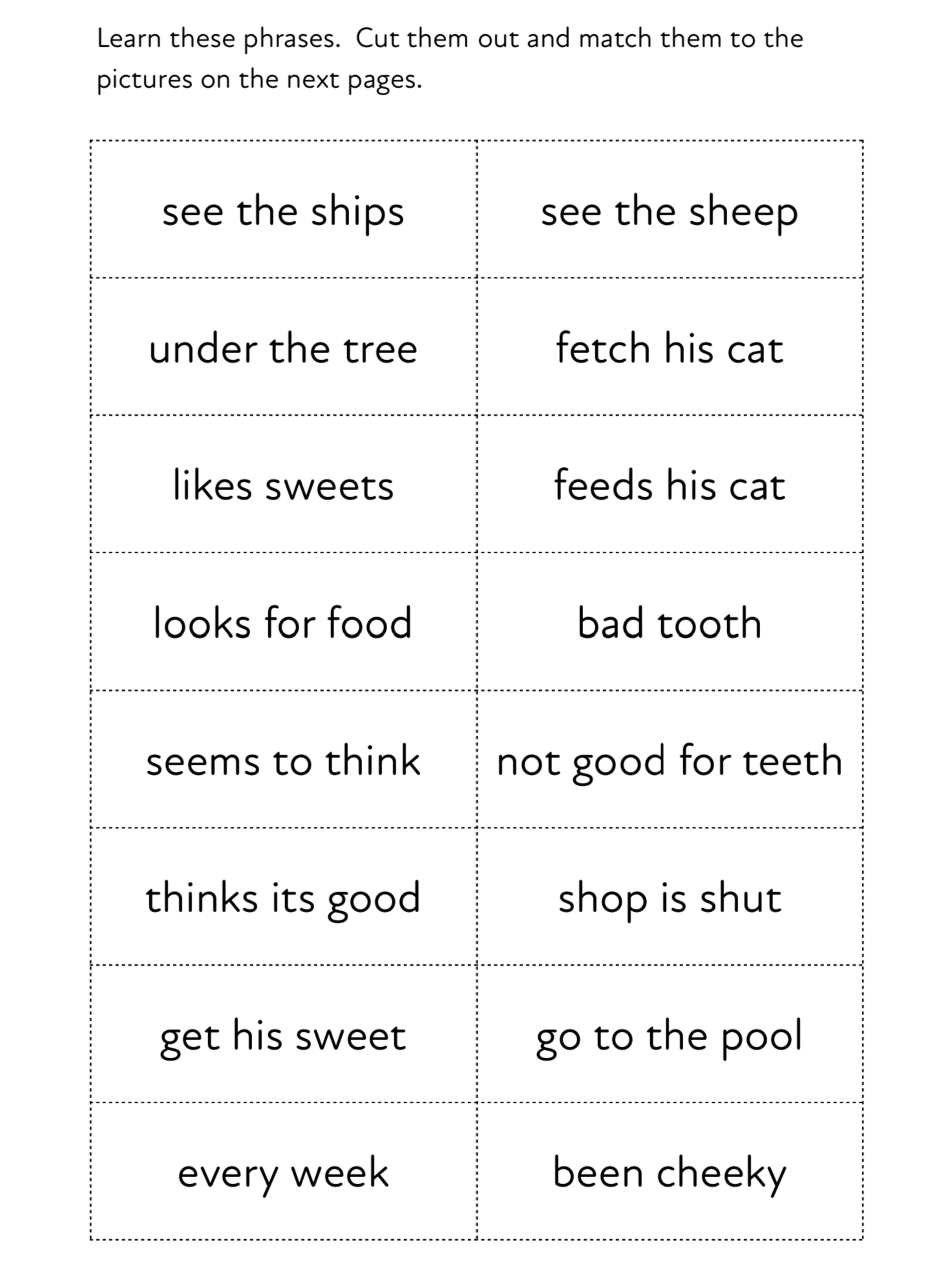 Introduces ch, sh, th, ee, oo. Read the Sentences