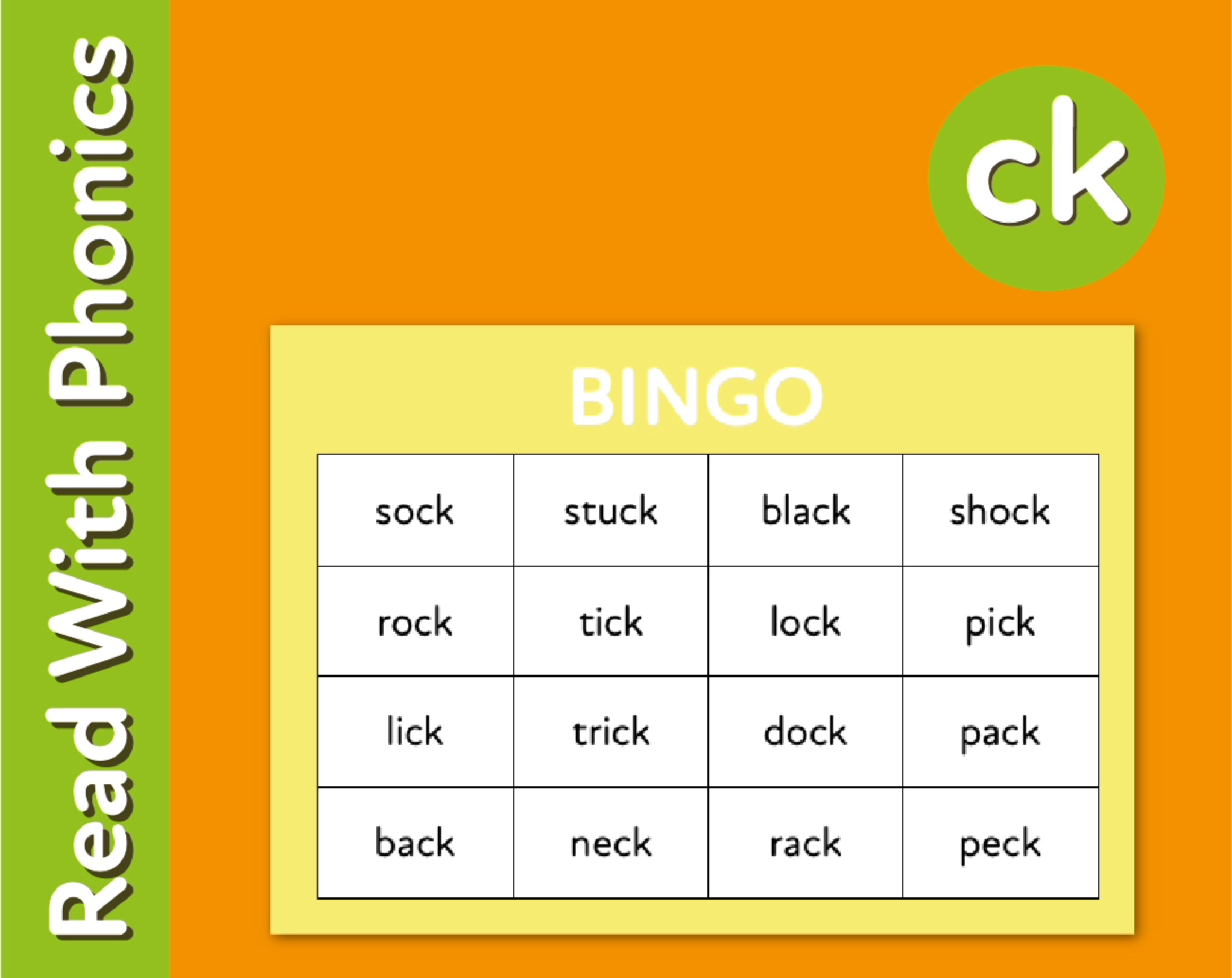 Play Bingo And Snap To Reinforce The Phonic Sound 'ck' (3 +)