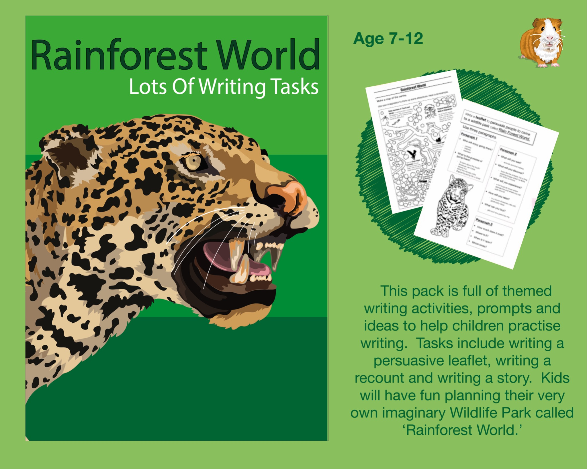 Lots Of Writing Tasks About A Wildlife Park Called Rainforest World (7-12 years)