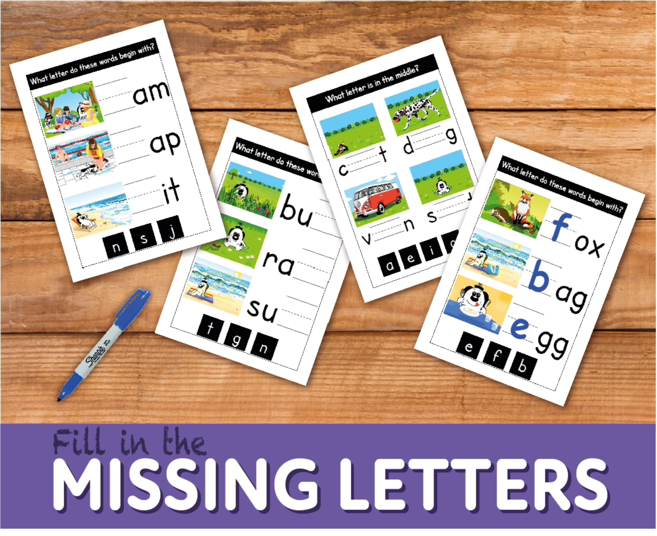 Fill In The Missing Letters WORKSHEETS (4-7 years)