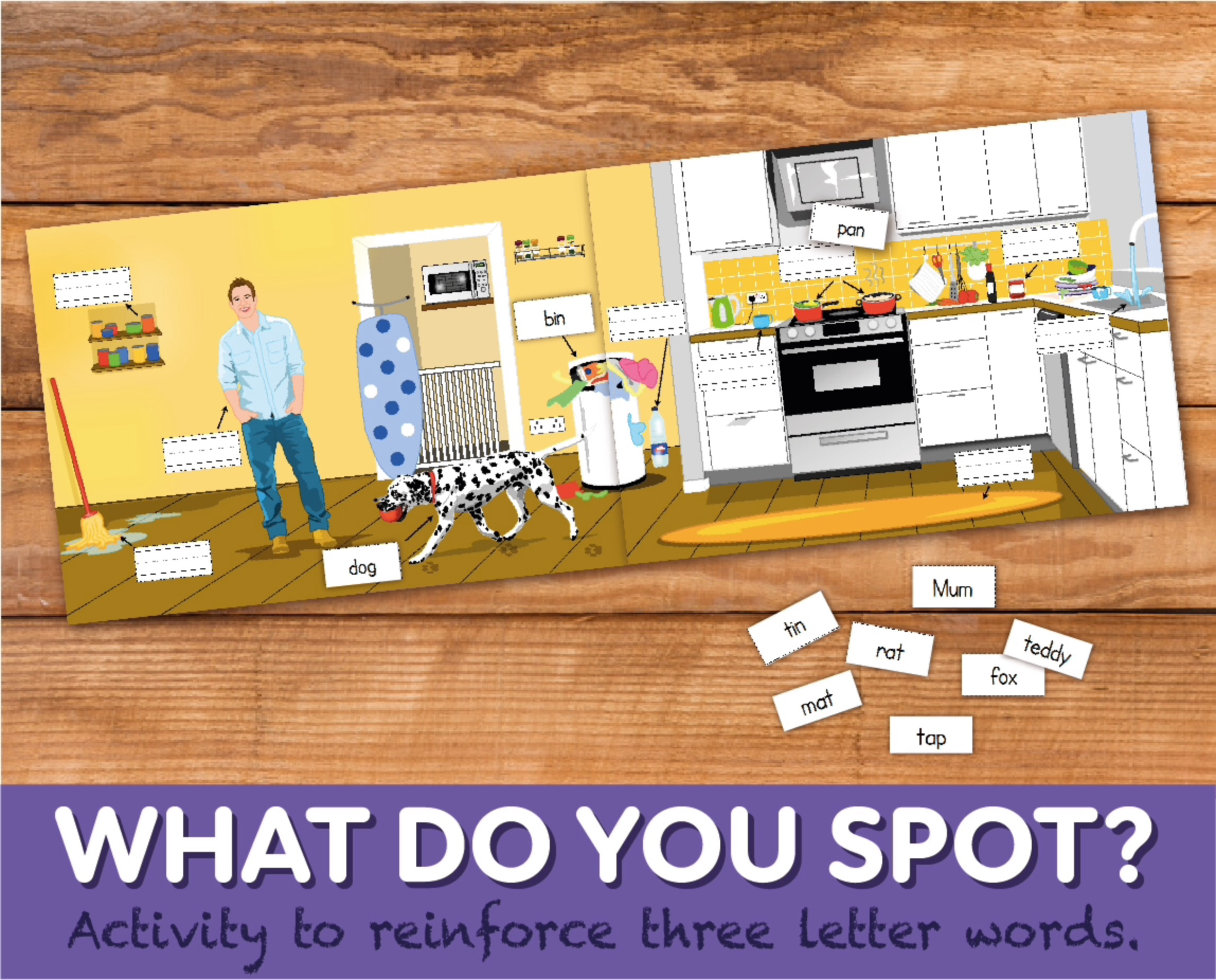 Play A Game Of 'What Do You Spot?' To Reinforce Three Letter Words (4-7 years)