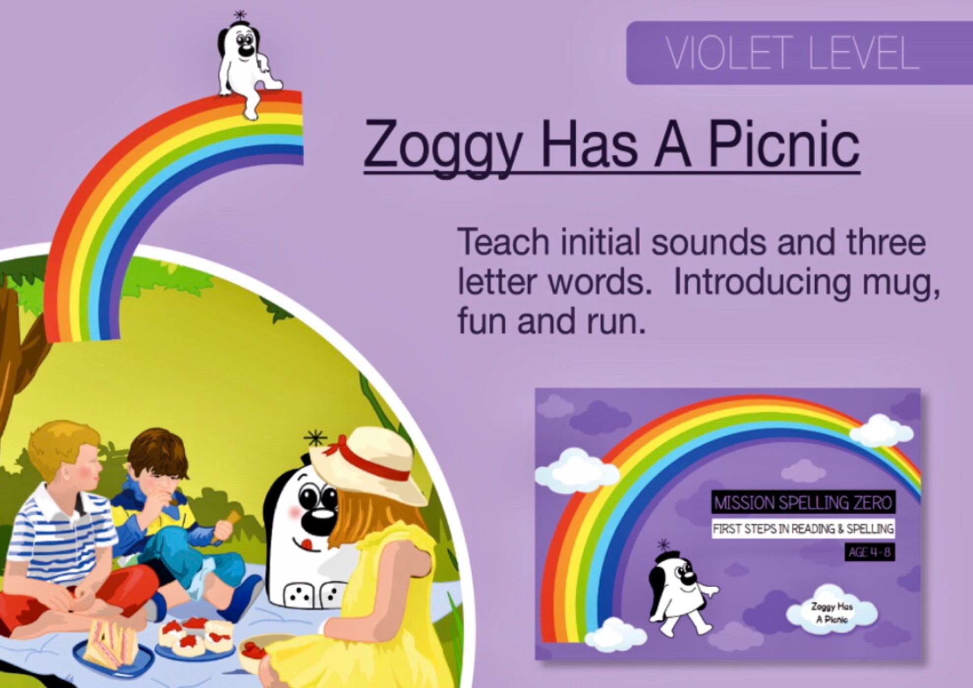 Initial Sounds & Three Letter Words: Zoggy Has A Picnic (Print Edition)