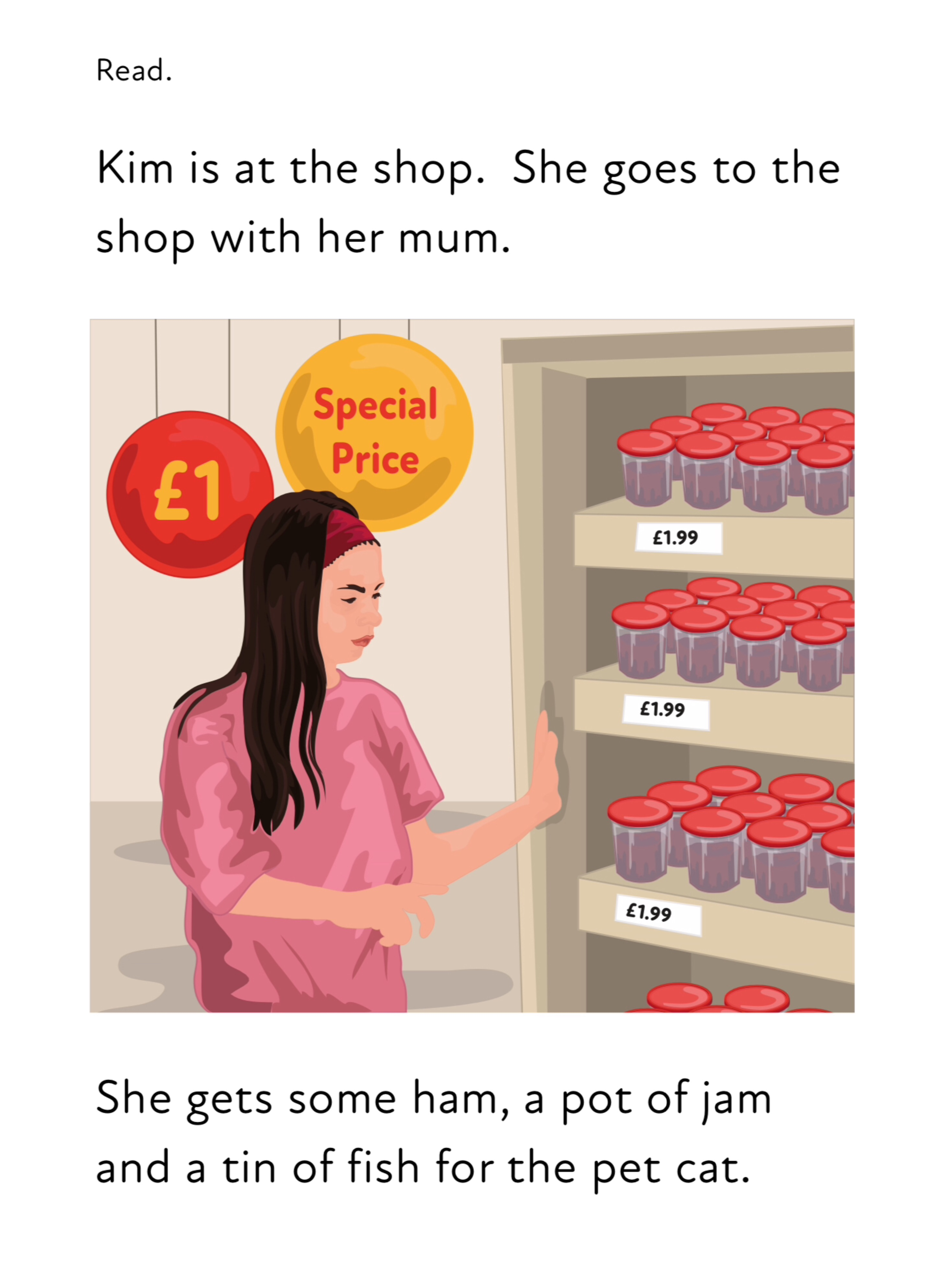 Sh And Words That End With Y. Read 'Kim At The Shop' & Write Sentences (3 +)