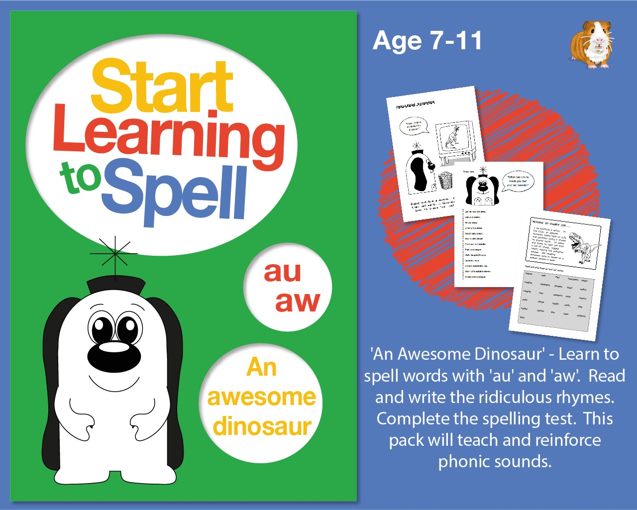 'An Awesome Dinosaur' Learn To Spell Words With 'au' and 'aw' (7-11 years)