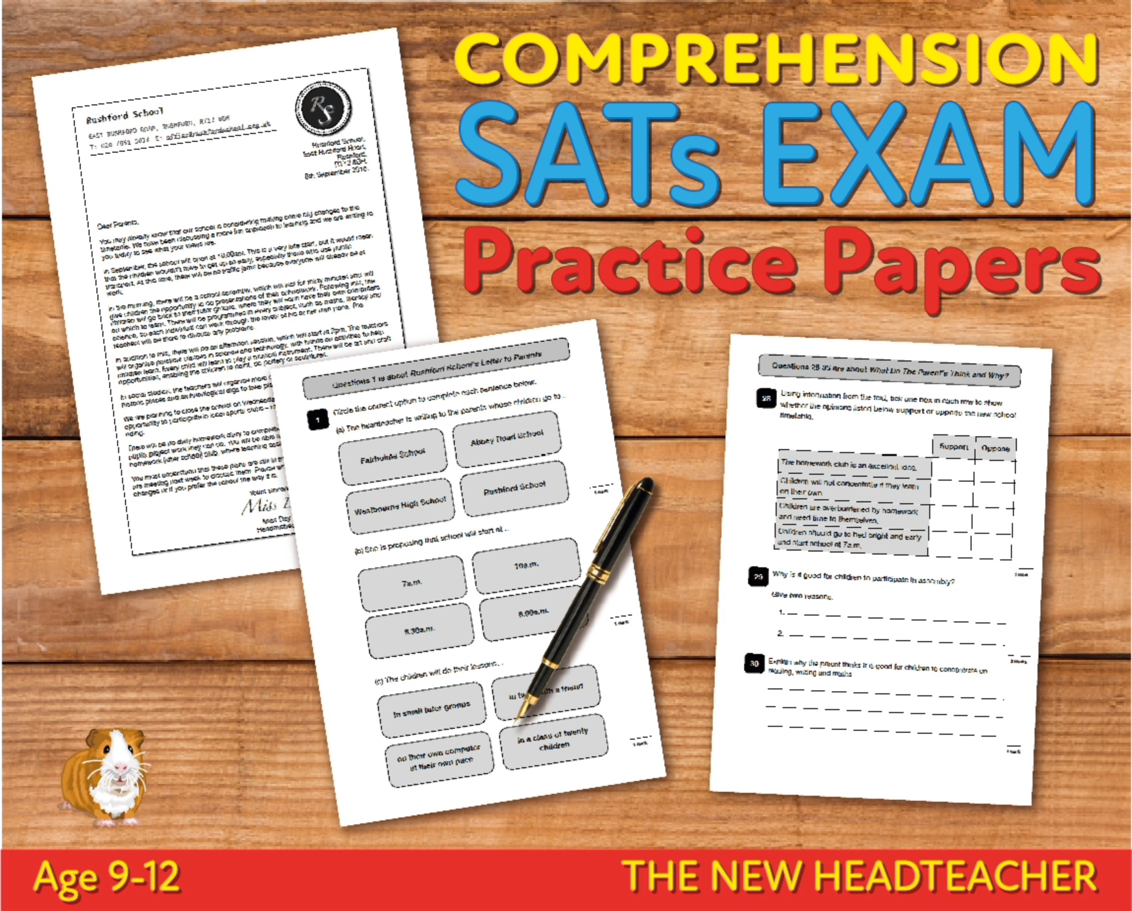 SATS Comprehension Tests (The New Headteacher) 9-12 years Digital Download