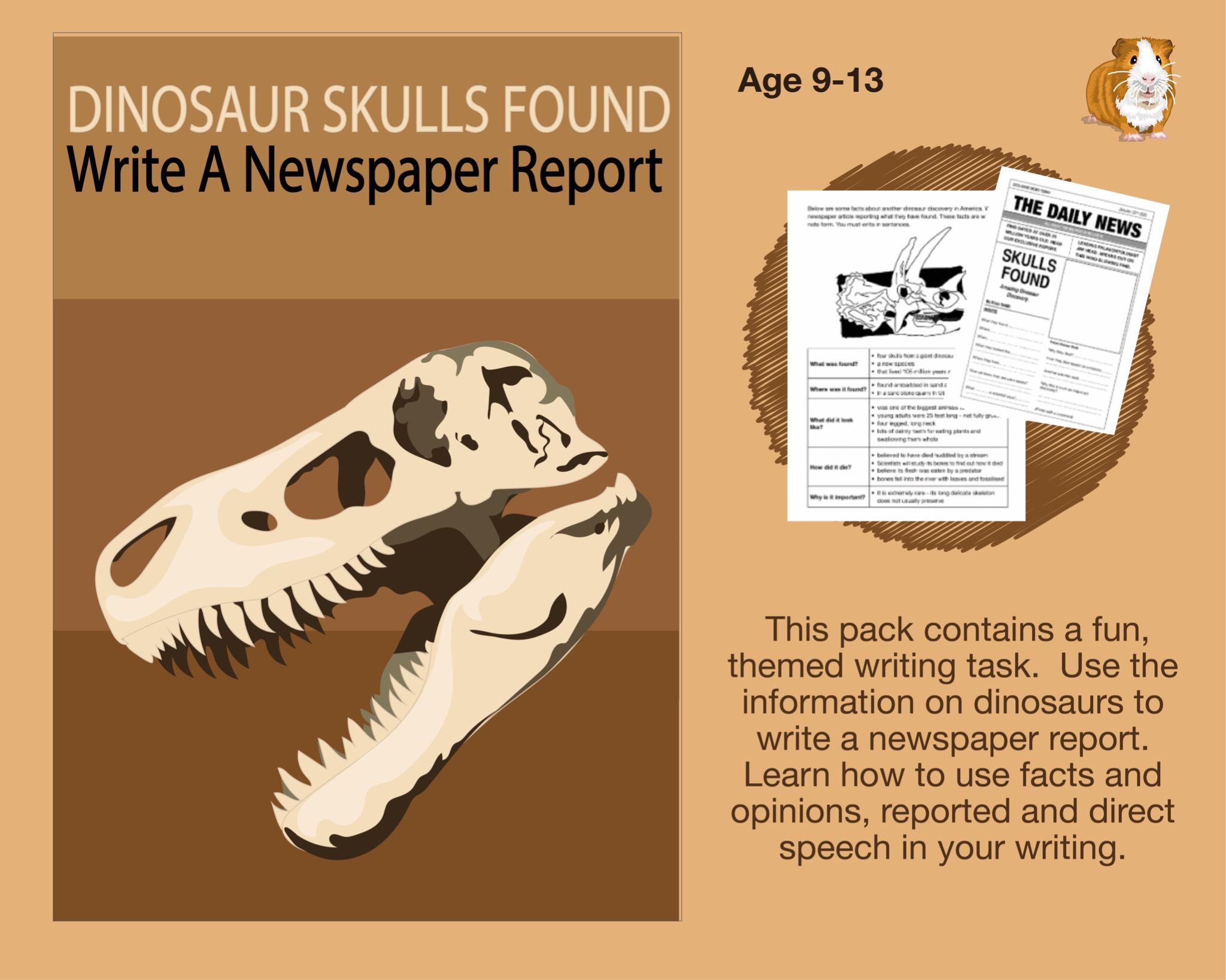 Dinosaur Skulls Found: Write A Newspaper Report (SATS And 11+ Essential Writing Practice) (9-13)