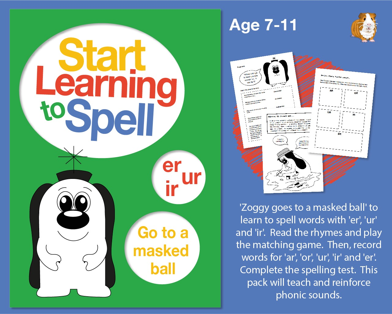 'Zoggy Goes To A Masked Ball' Learn To Spell Words With 'er, ur, ir' (7-11 years)