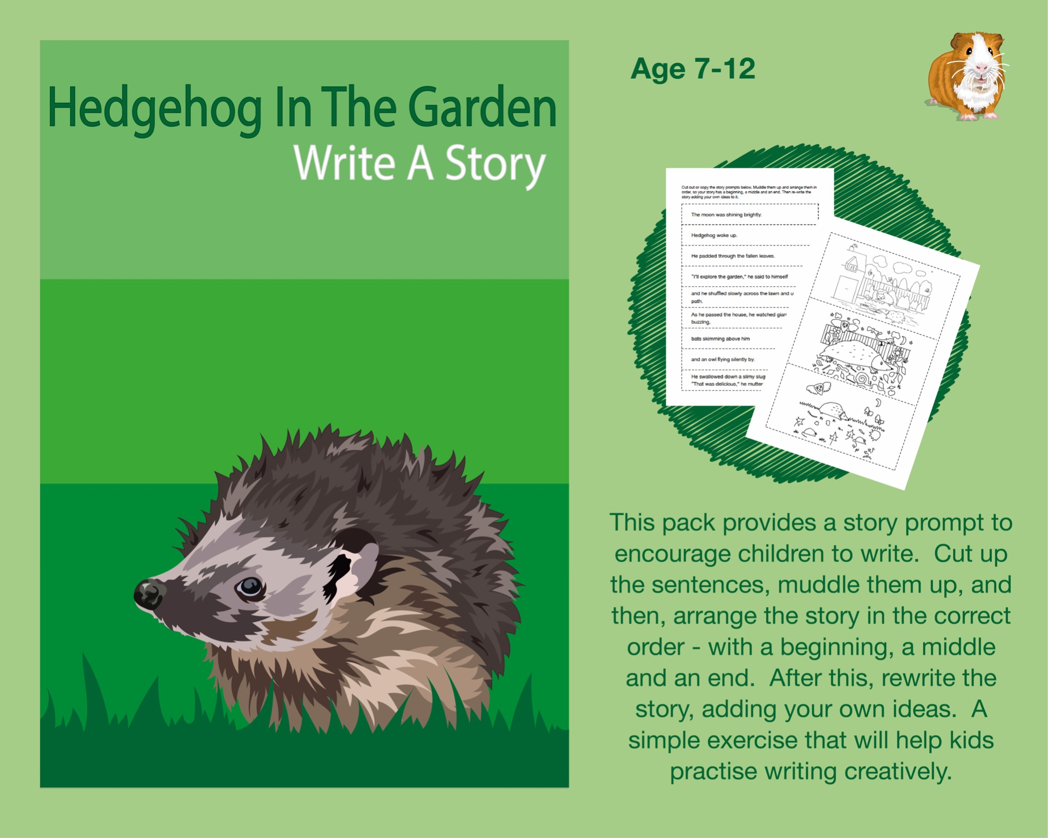 Cut Out And Write A Story Called 'Hedgehog In The Garden' (7-12 years)