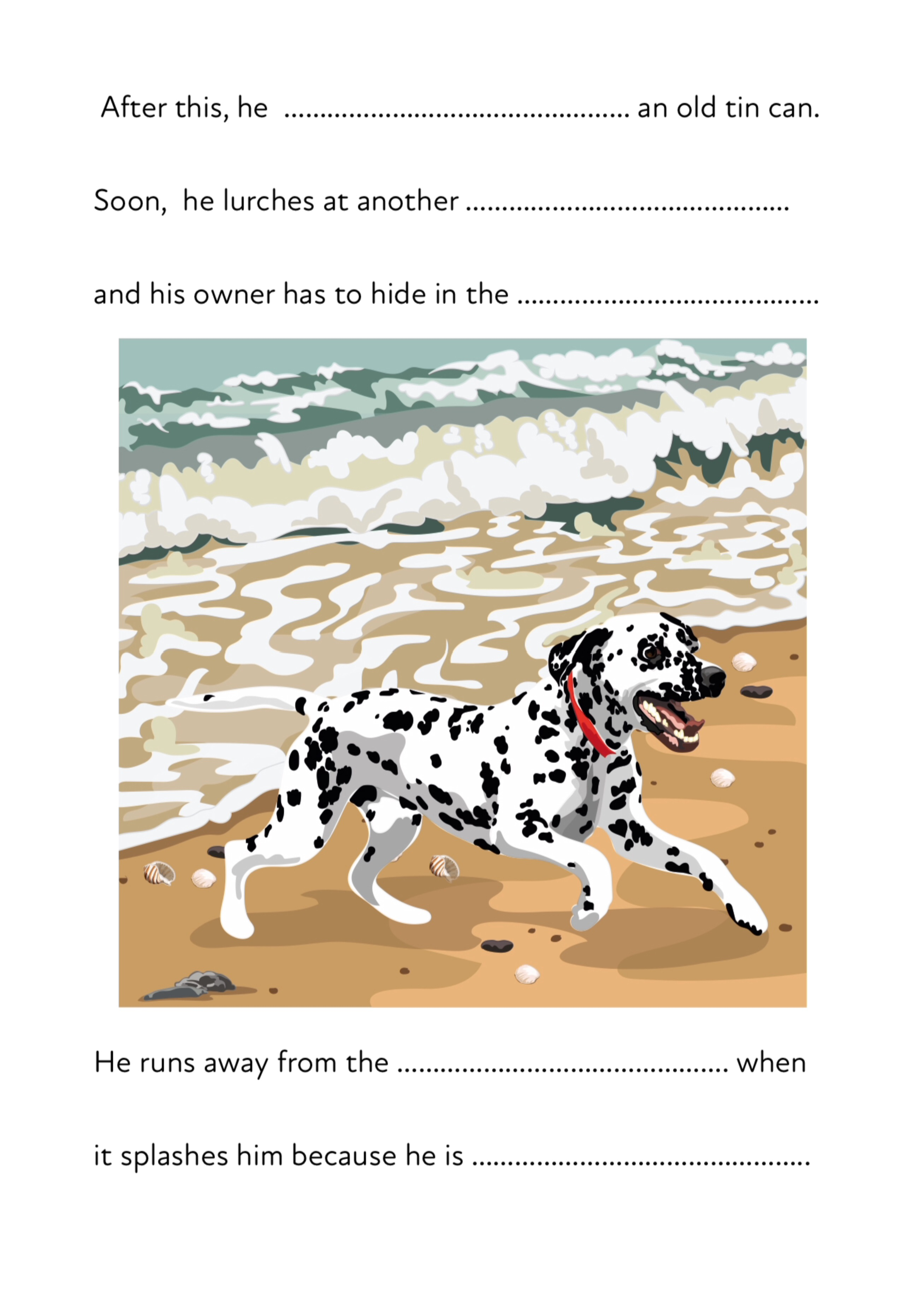 'Pom Pom At The Beach' A Fun Writing And Drawing Activity (6 years +)
