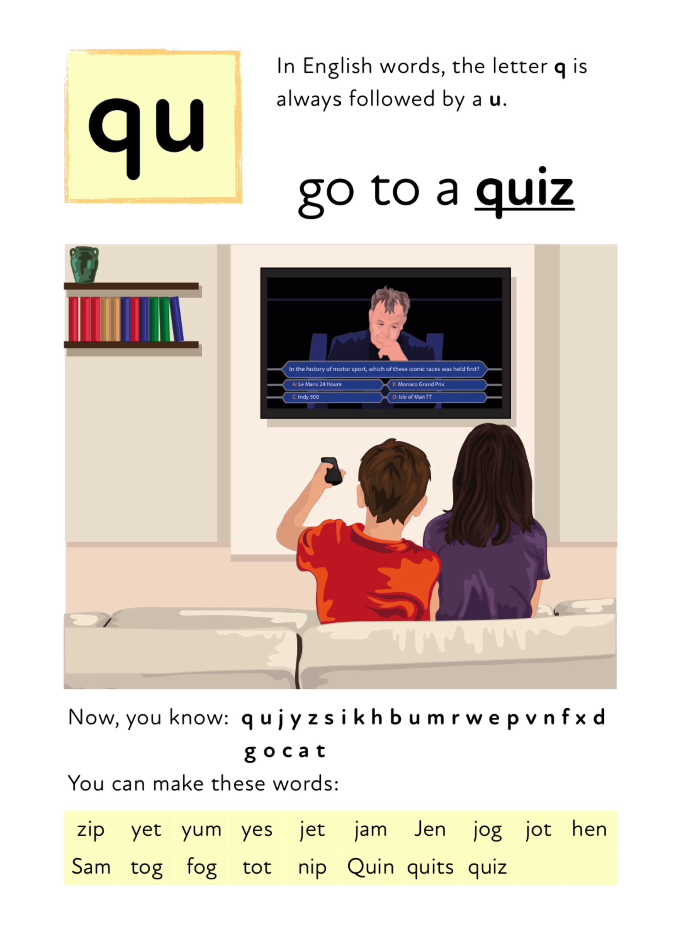 Learn The Initial Phonic Sounds 'j, y, z, qu, l' (3 +)