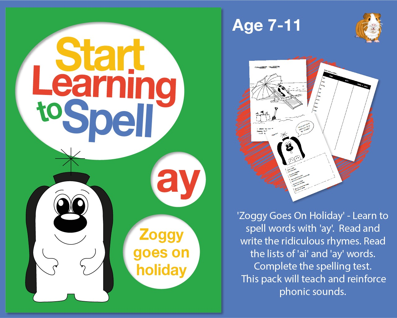 'Zoggy Goes On Holiday' Learn To Spell Words With 'ay' (7-11 years)