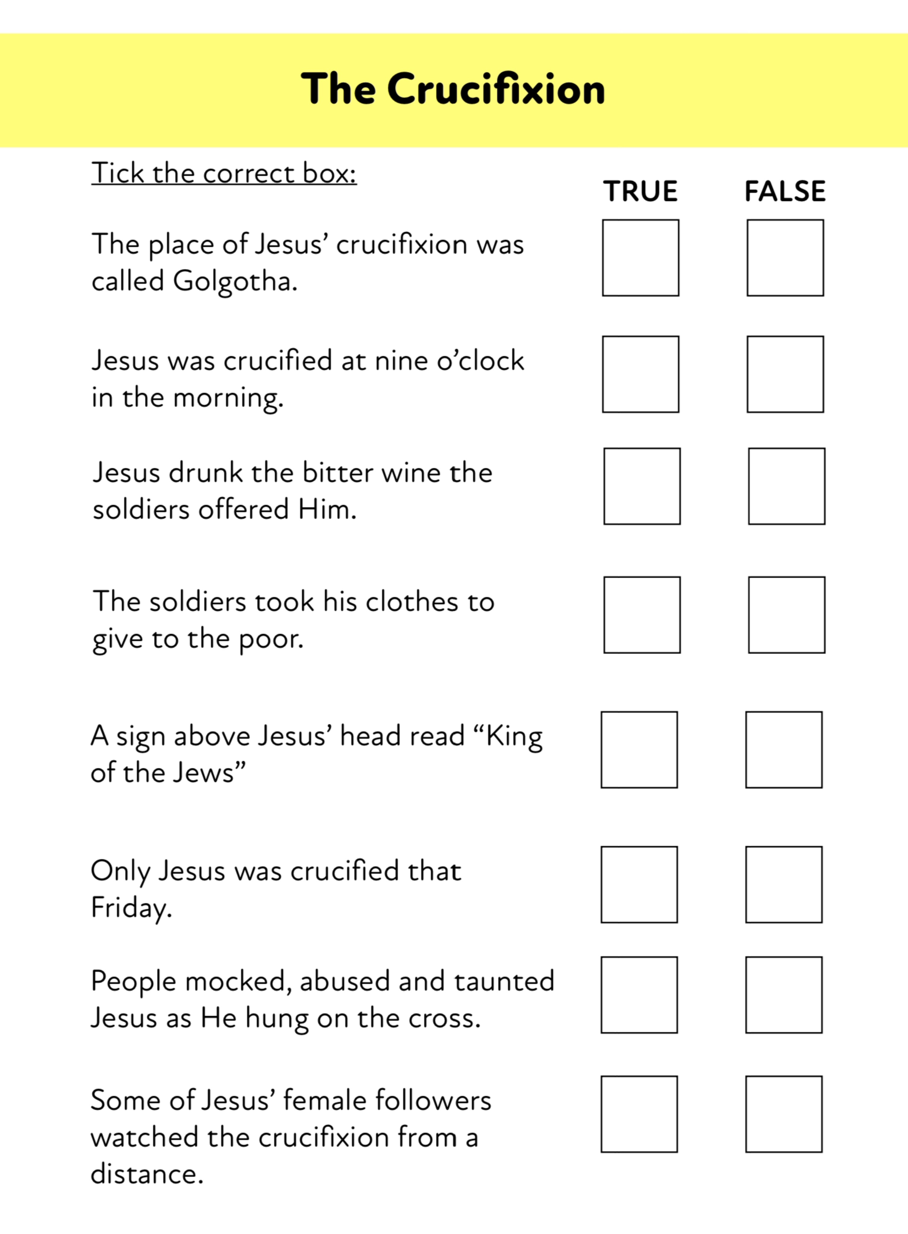 Good Friday: Jesus' Trial And Crucifixion Easter Activity Pack (8-12 years)