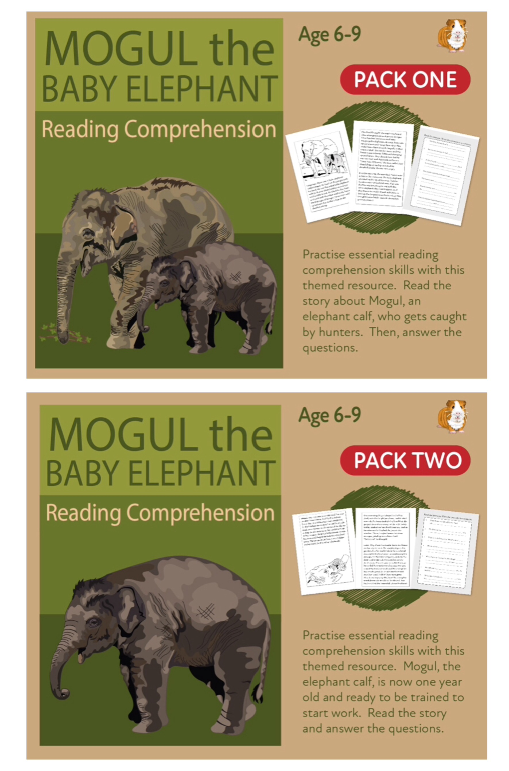 Let's Practise Our Reading Comprehension: Mogul The Baby Elephant: Parts 1 & 2 (6-9 years)